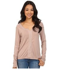 Dylan By True Grit Long Sleeve Peasant Top W Shimmer Stripe Icy Mauve Women's Long Sleeve Pullover Brown