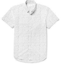 Saturdays Surf Nyc Esquina Slim Fit Button Down Collar Printed Cotton Poplin Shirt White