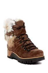 Manas Design Faux Fur Lined Lace Up Boot Brown