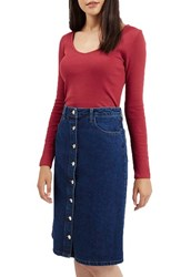 Women's Topshop V Neck Crop Sweater Red