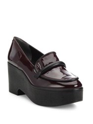 Robert Clergerie Xocole Patent Leather Platform Loafers Burgundy