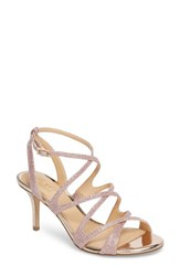 Jewel Badgley Mischka 'S Tasha Glitter Sandal Rose Gold Glitter
