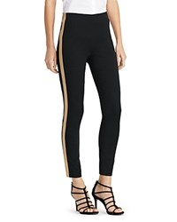 Lauren Ralph Lauren Metallic Tuxedo Stripe Skinny Pants Black