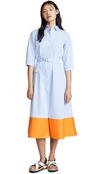 Mds Stripes Colorblock Shirtdress Blue Orange Mix