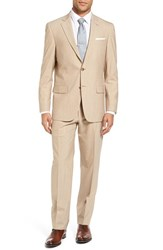 Hart Schaffner Marx Men's Big And Tall Classic Fit Solid Stretch Wool Suit Lt Tan