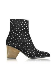 Zoe Lee Addis Black And Silver Star Printed Suede Boot