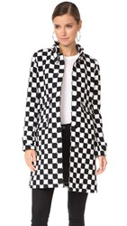 Courreges Classic Trench Coat Black White Check