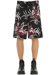 Prada Hawaiian Printed Nylon Swim Shorts Black
