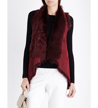 Karl Donoghue Waterfall Reversible Shearling Gilet Burgundy