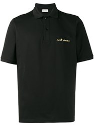 Saint Laurent Embroidered Oversized Polo Shirt Black