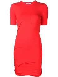 T By Alexander Wang Twisted T Shirt Dress Red