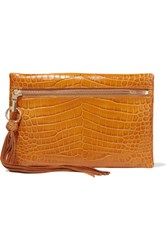Elizabeth And James Scott Croc Effect Leather Clutch Tan