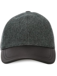 Canali Leather Peak Baseball Cap Grey