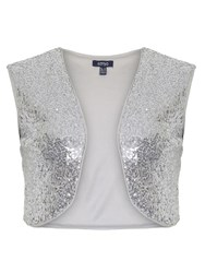 Samya Plus Size Sequin Embellished Cardigan Silver