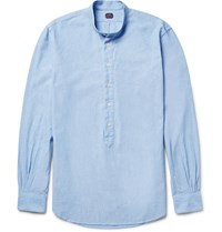 Massimo Piombo Mp Grandad Collar Cotton Chambray Shirt Light Blue