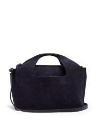The Row Two For One Suede Shoulder Bag Navy