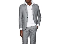 Barneys New York Fabio Wool Flannel Two Button Sportcoat Gray
