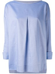 Piazza Sempione Chambray Pleated Front Top Women Cotton 42 Blue