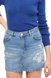Topshop Women's Embroidered Denim Miniskirt Mid Denim