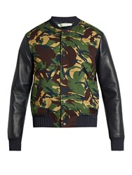 Off White Camouflage Print Cotton And Leather Bomber Jacket Green Multi