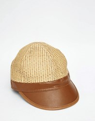 Asos Staw Cap With Faux Leather Peak Natural Beige