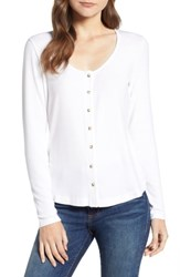 Socialite Button Front Top White
