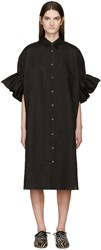 Junya Watanabe Black Ruffled Linen Shirt Dress