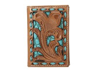 Mandf Western Floral Pierced Embossed With Buckstitch Trifold Wallet Tan Turquoise Wallet Handbags Brown