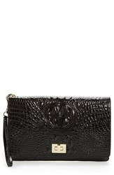 Brahmin 'Lily' Croc Embossed Leather Clutch Black