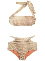 Adriana Degreas Velvet Hot Pants Bikini Set Neutrals