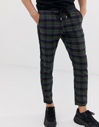 Sixth June Tapered Trousers In Tartan With Side Stripe Black
