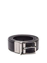 Dolce And Gabbana Reversible Leather Belt Black Silver