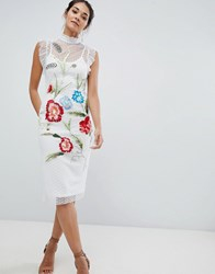 Hope And Ivy Floral Embroidery Midi Dress White