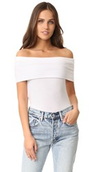 Three Dots Off Shoulder Sweater White