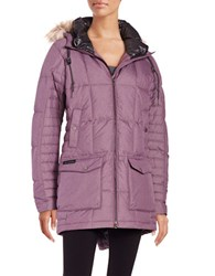 Columbia Faux Fur Trimmed Omni Heat Insulated Down Coat Dusty Purple
