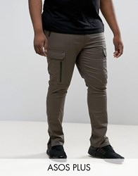 Asos Plus Super Skinny Fit Trousers With Zip Cargo Pockets In Khaki Forest Night Green