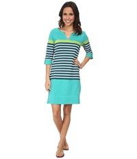 Hatley Peplum Sleeve Dress Tide Color Blocked Stripes Women's Dress Green