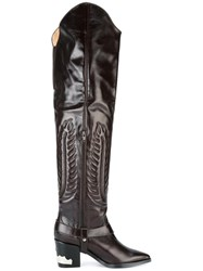 Toga Embossed Thigh High Boots Brown