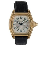 Cartier Vintage 18K Yellow Gold Leather Strap Roadster Watch Gold One Colour