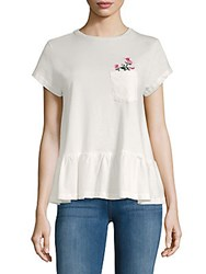 Lea And Viola Floral Embroidery Ruffle Top White