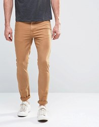 Asos Super Skinny Jeans In Tan Bone Brown