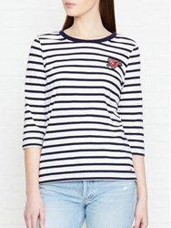 Tommy Hilfiger 3 4 Sleeve Striped Heart Badge Top White Navy White Navy