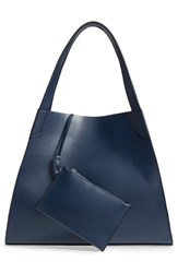 Leith Trapezoid Faux Leather Tote Blue Dark Navy