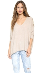 Minnie Rose Cashmere Powwow Sweater French Taupe