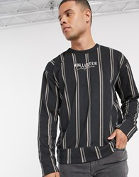 Hollister Stripe And Wash Crew Sweatshirt In Black