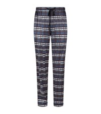 Meng Printed Silk Lounge Trousers Navy