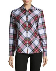 Lord And Taylor Plaid Button Down Shirt White Multi