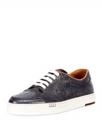 Berluti Playtime Scritto Leather Tennis Shoe Gray