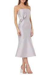 Kay Unger Strapless Satin Tea Length Dress Dove Grey