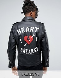 Reclaimed Vintage Inspired Leather Jacket With Back Print And Charm Black